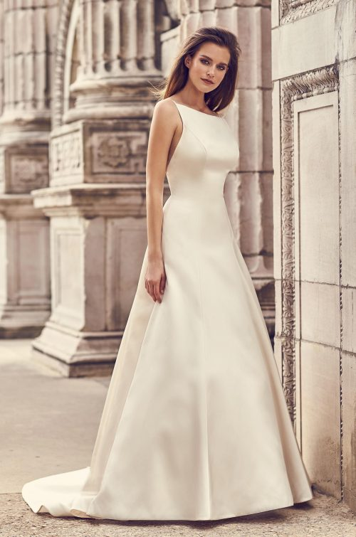 Square Neckline Satin Wedding Dress - Style #2238 | Mikaella Bridal